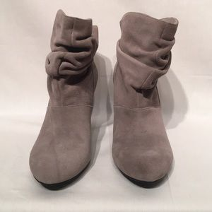 BCBG Gray Leather Slouchy Booties Size 8.5